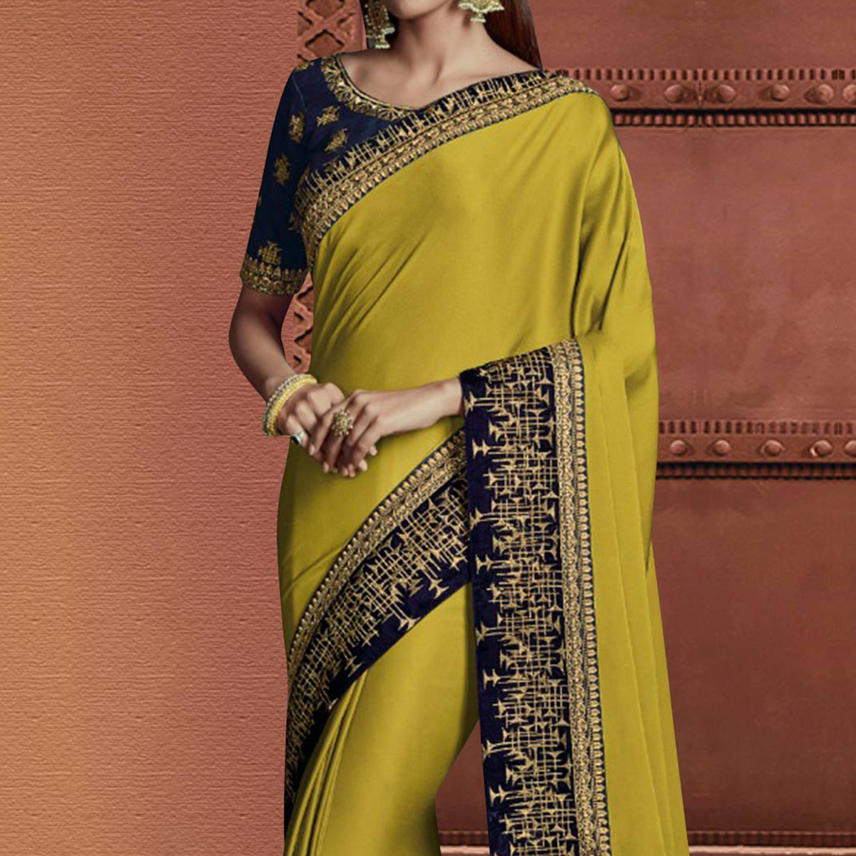 Different Lemon Green Colored Partywear Embroidered Silk Saree