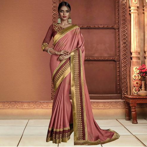 Unique Pink Colored Partywear Embroidered Chiffon Saree