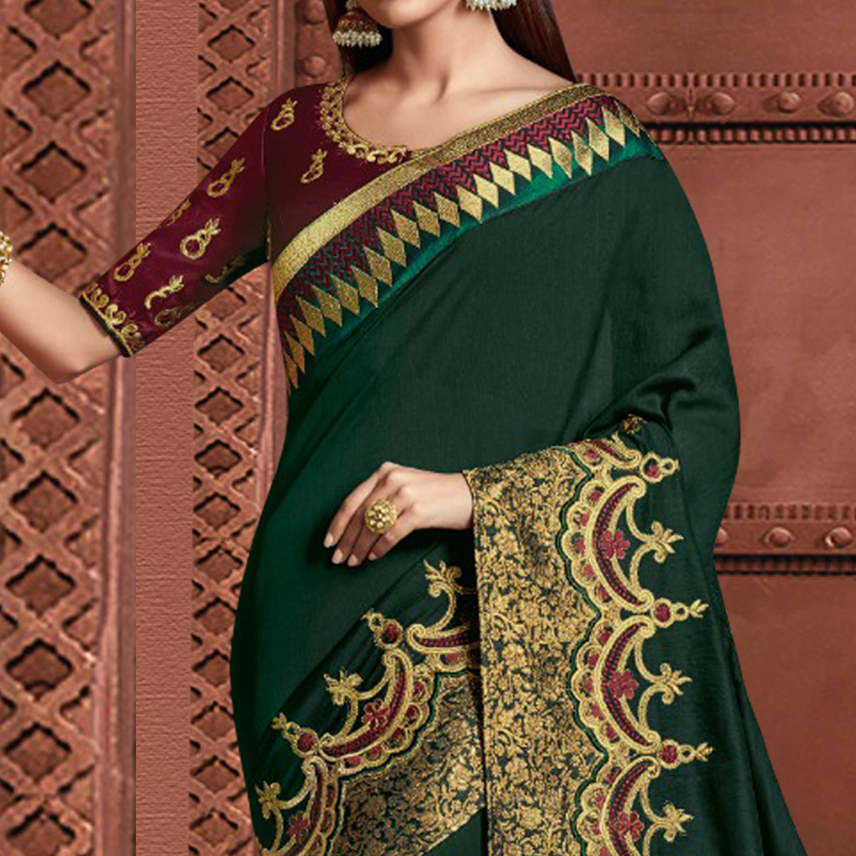 Gleaming Green Colored Partywear Embroidered Silk Saree