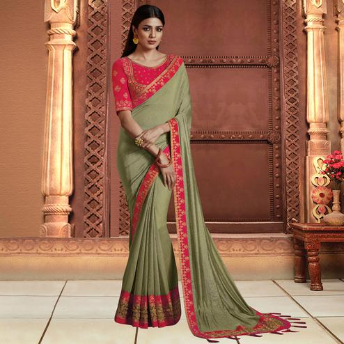 Marvellous Light Olive Green Colored Partywear Embroidered Silk Saree