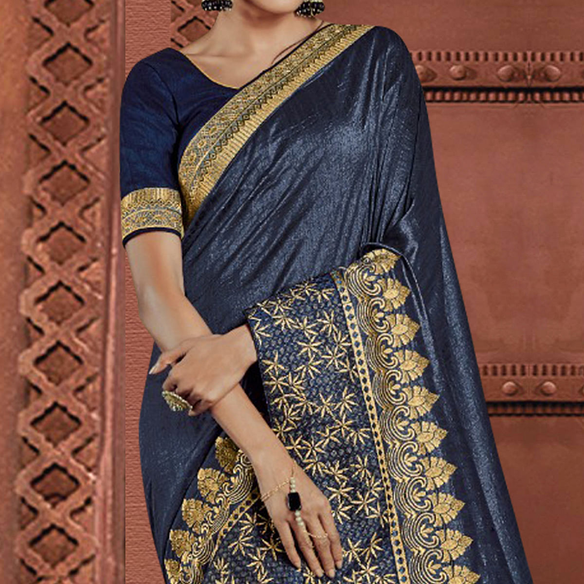Adorable Blue Colored Partywear Embroidered Silk Saree
