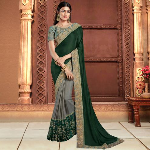 Beautiful Gray-Green Colored Partywear Embroidered Silk Saree