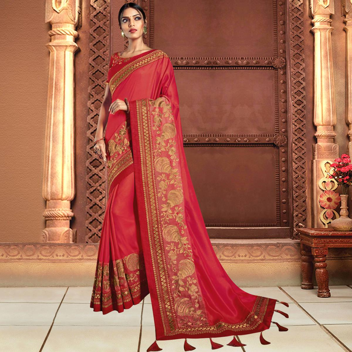 Appealing Coral Red Colored Partywear Embroidered Silk Saree