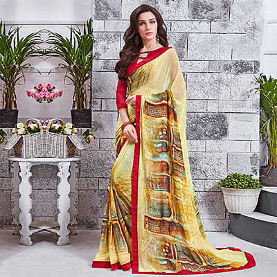Appealing Yellow Printed Georgette Saree