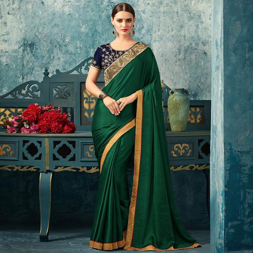 Sophisticated Green Colored Partywear Embroidered Silk Saree