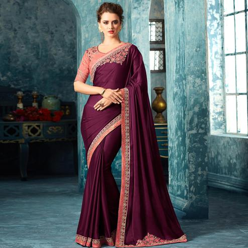 Sensational Wine Colored Partywear Embroidered Silk Saree