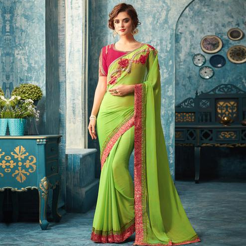 Flattering Green Colored Partywear Embroidered Chiffon Silk Saree