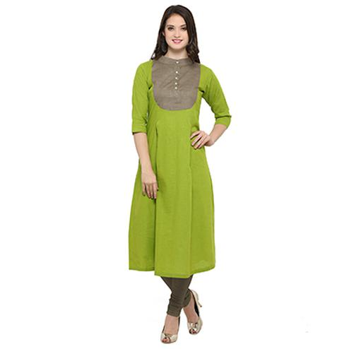 Parrot Green Digital Printed Designer Slub Cotton Kurti