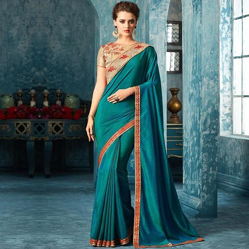 Breathtaking Blue Colored Partywear Embroidered Silk Saree