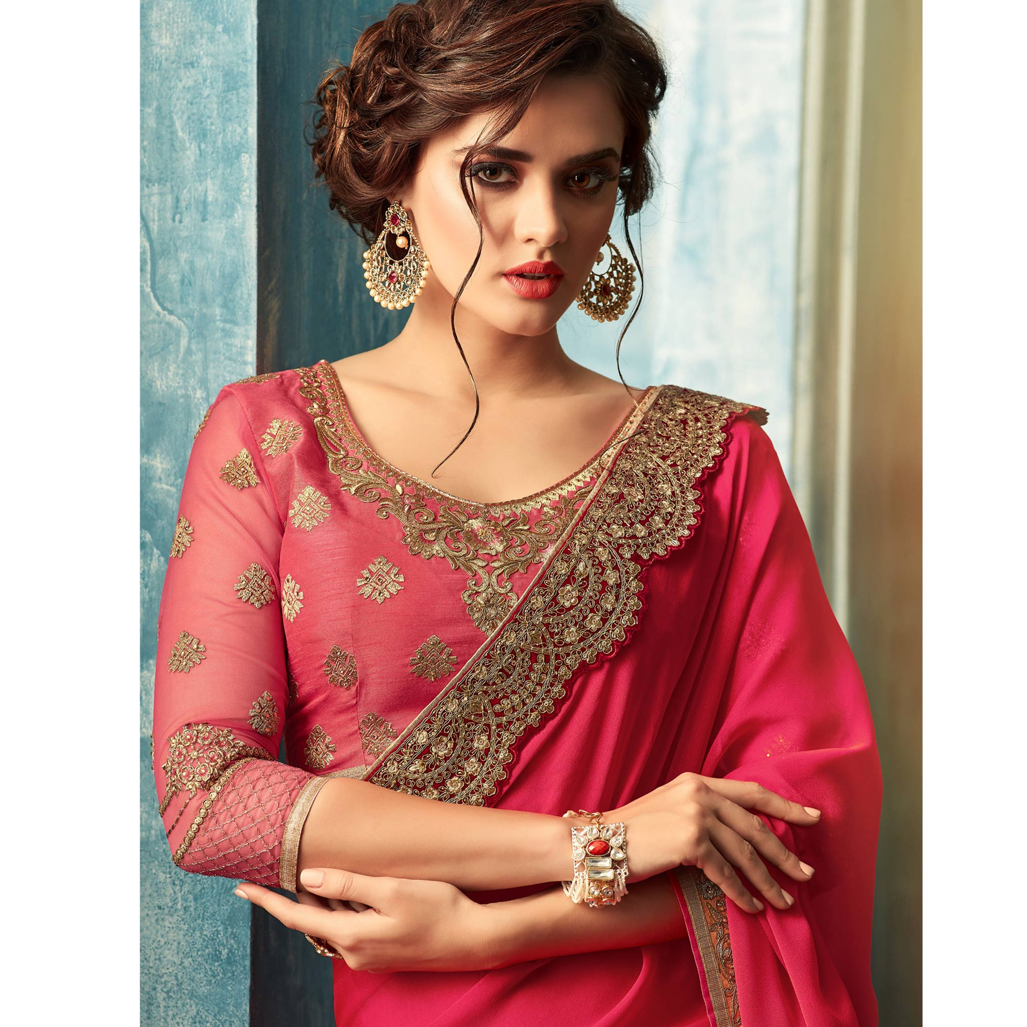 Innovative Pink Colored Partywear Embroidered Georgette Silk Saree