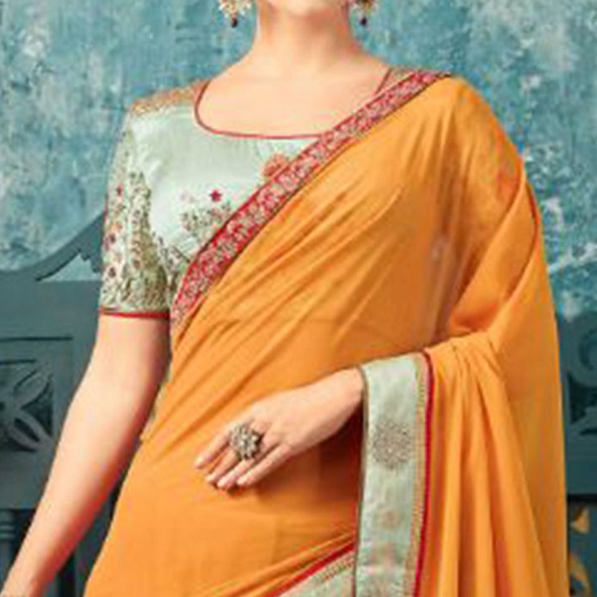 Exceptional Yellow Colored Partywear Embroidered Georgette Saree