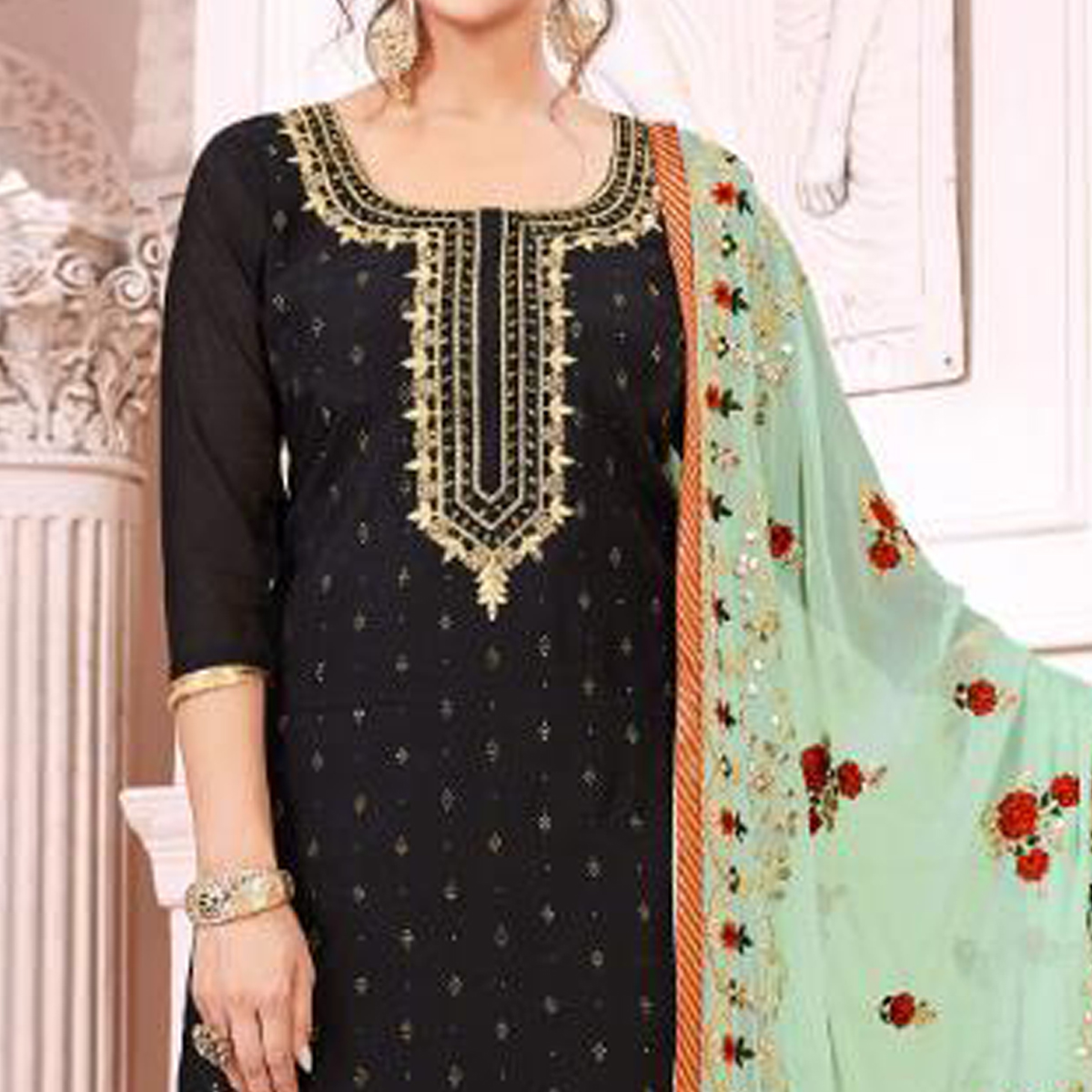 Marvellous Black Colored Partywear Embroidered Modal Silk Suit