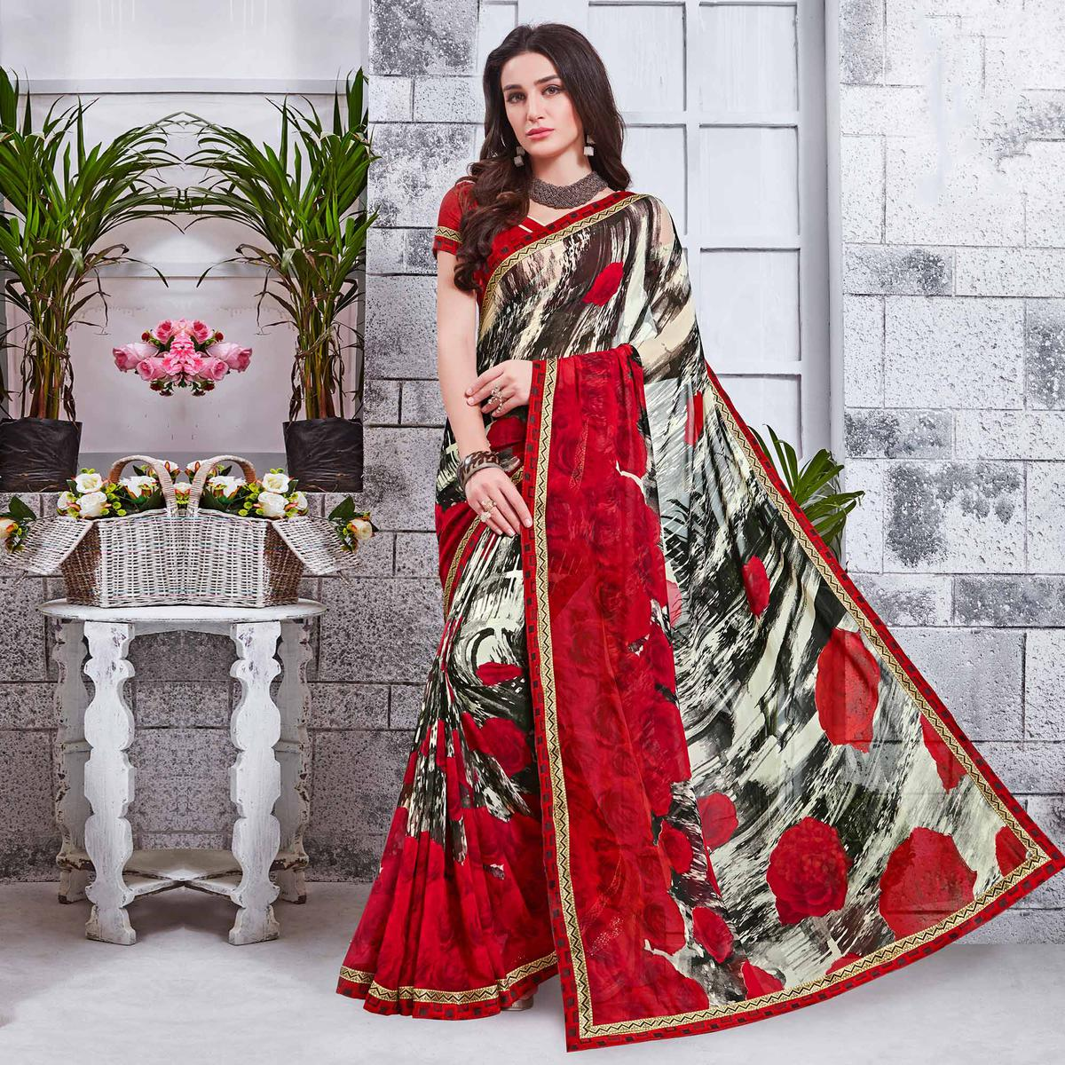 Stylish Multi Printed Georgette Saree