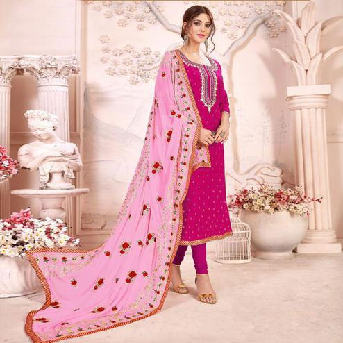 Gleaming Magenta Pink Colored Partywear Embroidered Modal Silk Suit