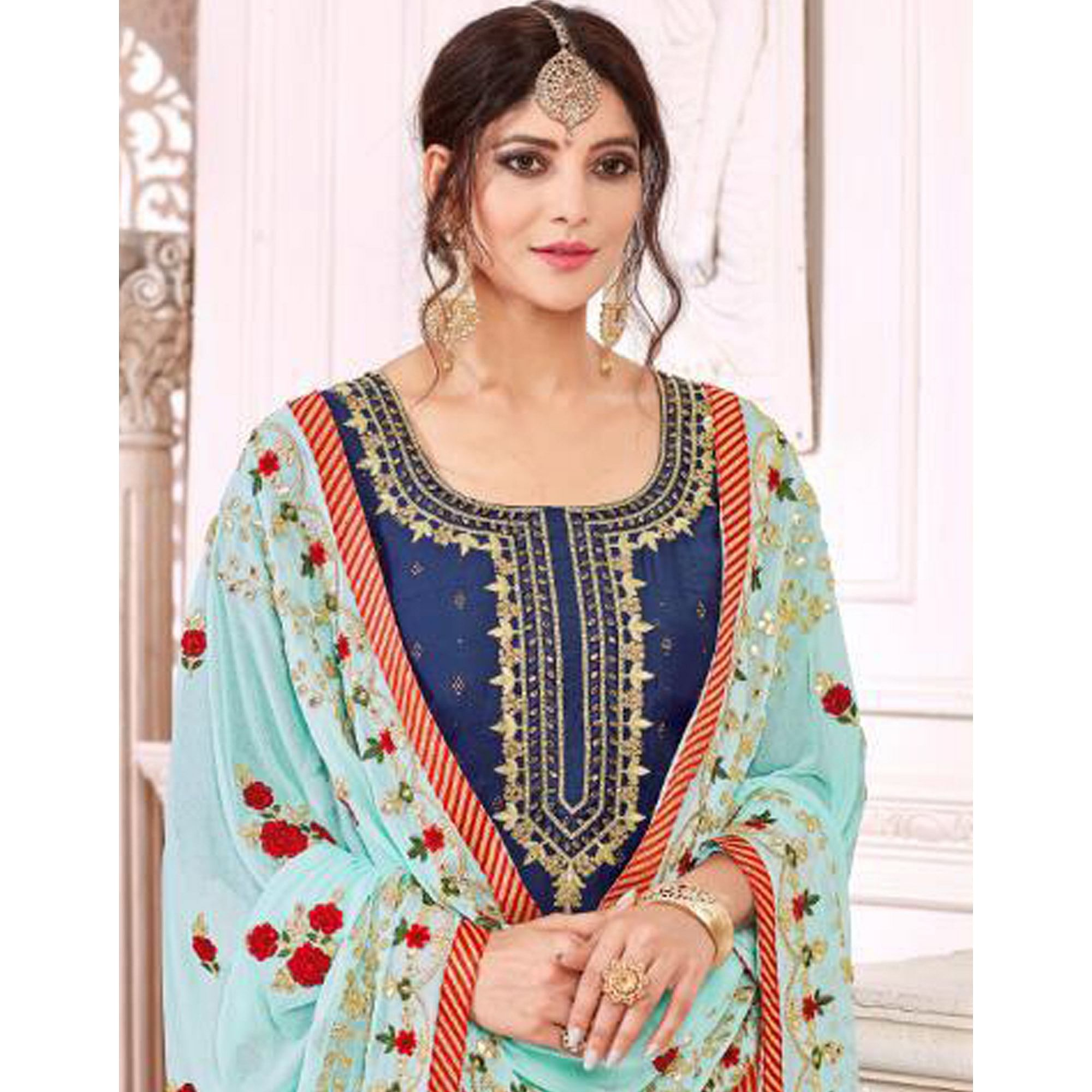 Flaunt Navy Blue Colored Partywear Embroidered Modal Silk Suit