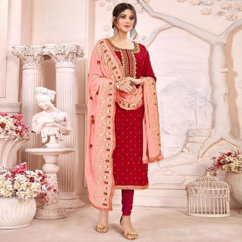 Gorgeous Red Colored Partywear Embroidered Modal Silk Suit