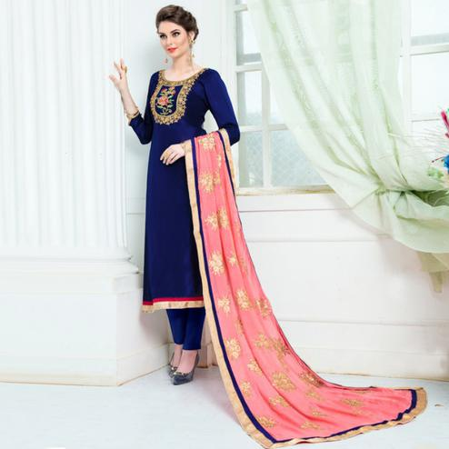 Starring Navy Blue Colored Partywear Embroidered Pure Uppada Silk Suit