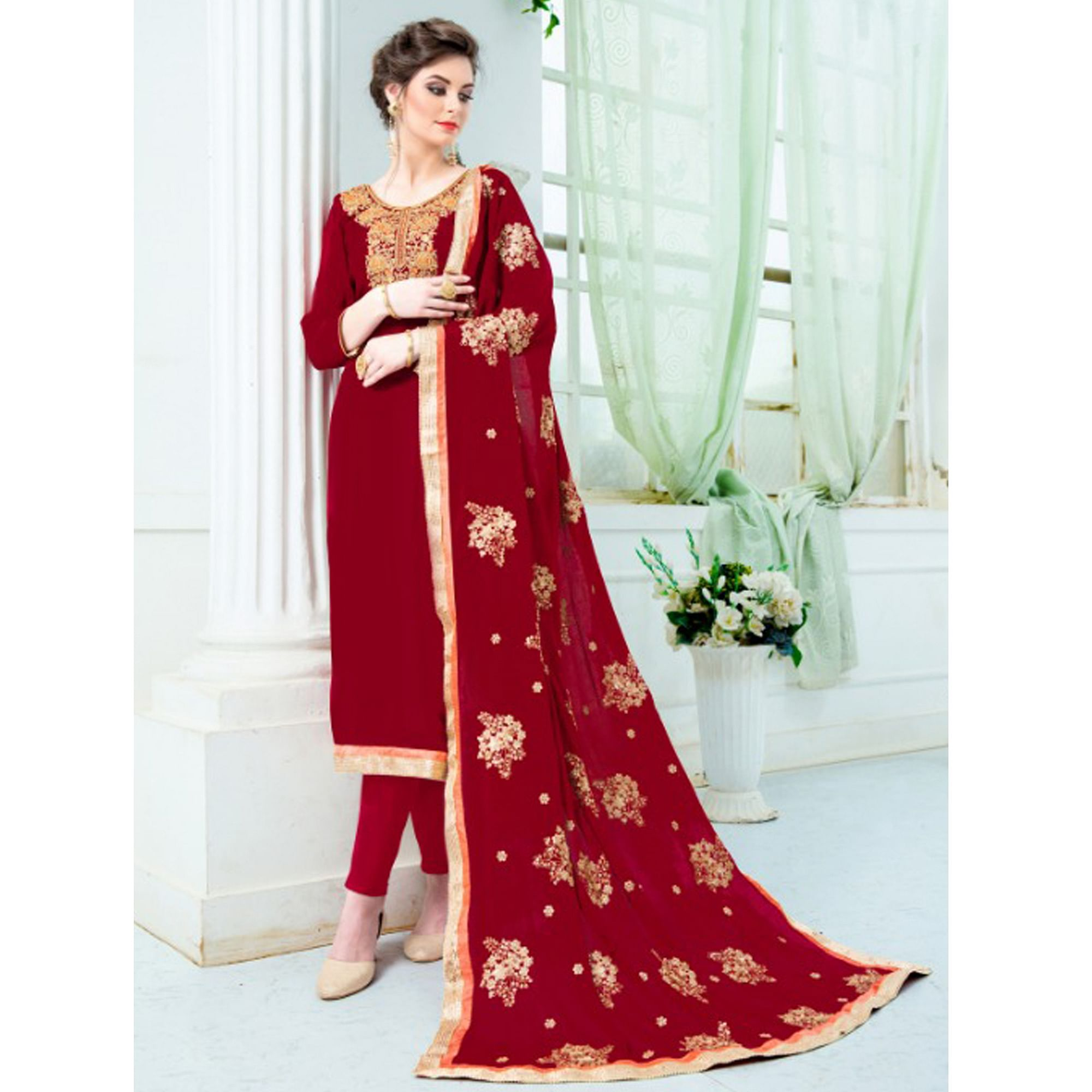 Flattering Red Colored Partywear Embroidered Pure Uppada Silk Suit