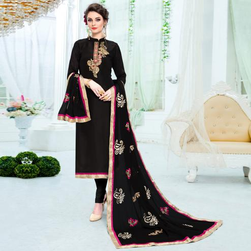Stunning Black Colored Partywear Embroidered Pure Uppada Silk Suit