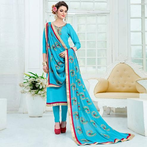 Fantastic Sky Blue Colored Partywear Embroidered Pure Uppada Silk Suit