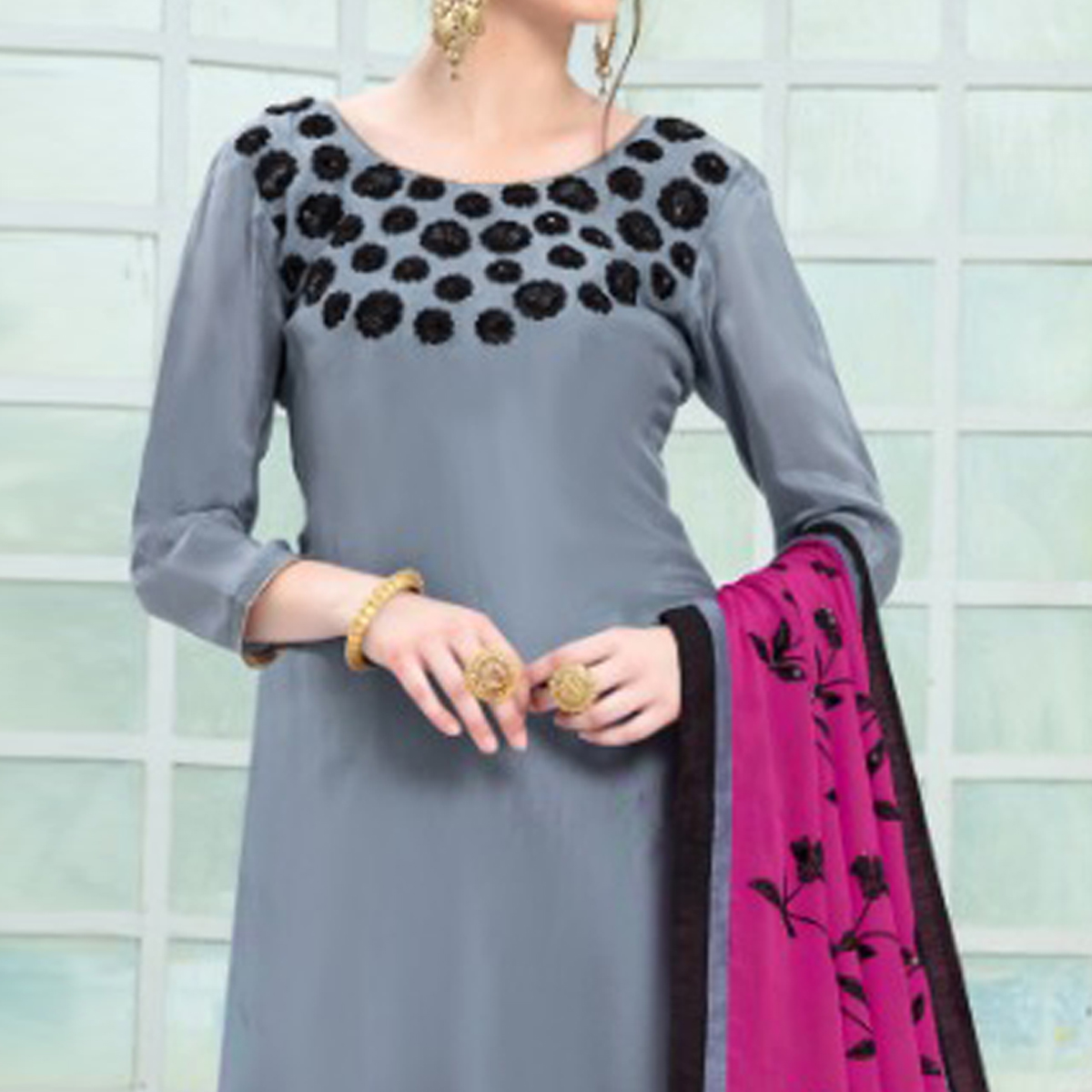 Trendy Gray Colored Partywear Embroidered Pure Uppada Silk Suit