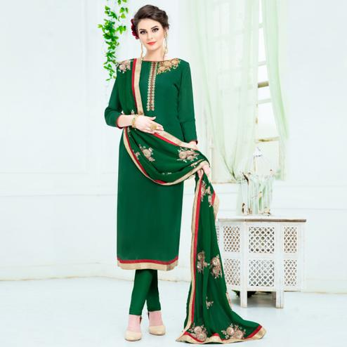 Refreshing Green Colored Partywear Embroidered Pure Uppada Silk Suit