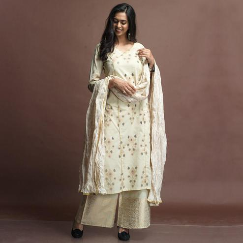 Appealing Cream Colored Partywear Foil Printed Cotton Palazzo Suit