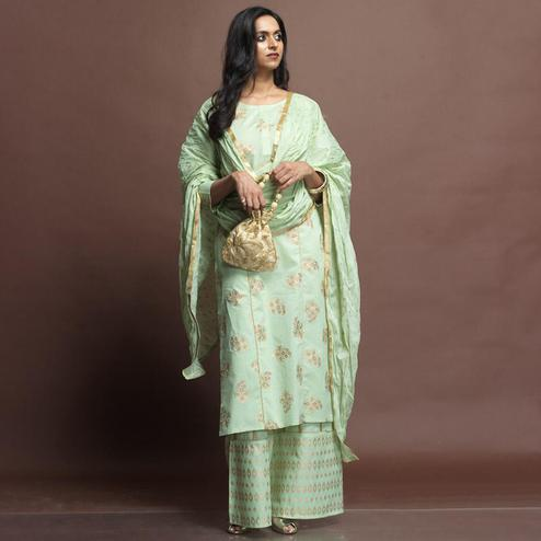 Exceptional Mint Green Colored Partywear Foil Printed Cotton Palazzo Suit