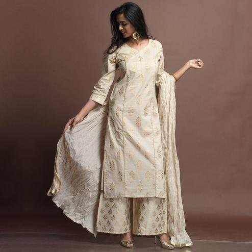 Impressive Off-White Colored Partywear Foil Printed Cotton Palazzo Suit