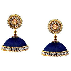 Jazzy Navy Blue Colored Stone Work Resham Thread Jhumki Earring