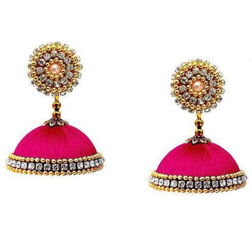 Appealing Rani Pink Colored Stone Work Resham Thread Jhumki Earring