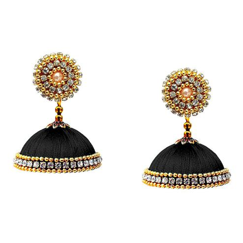 Groovy Black Colored Stone Work Resham Thread Jhumki Earring