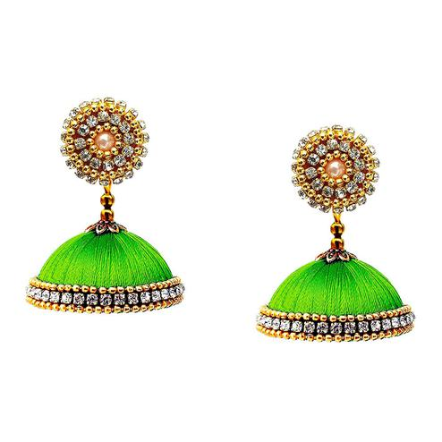 Prominent Parrot Green Colored Stone Work Resham Thread Jhumki Earring