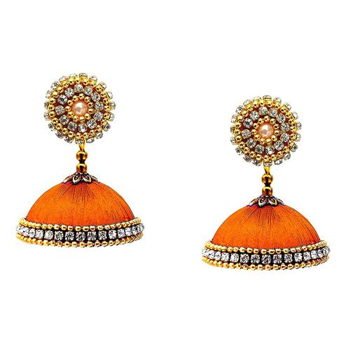 Capricious Orange Colored Stone Work Resham Thread Jhumki Earring