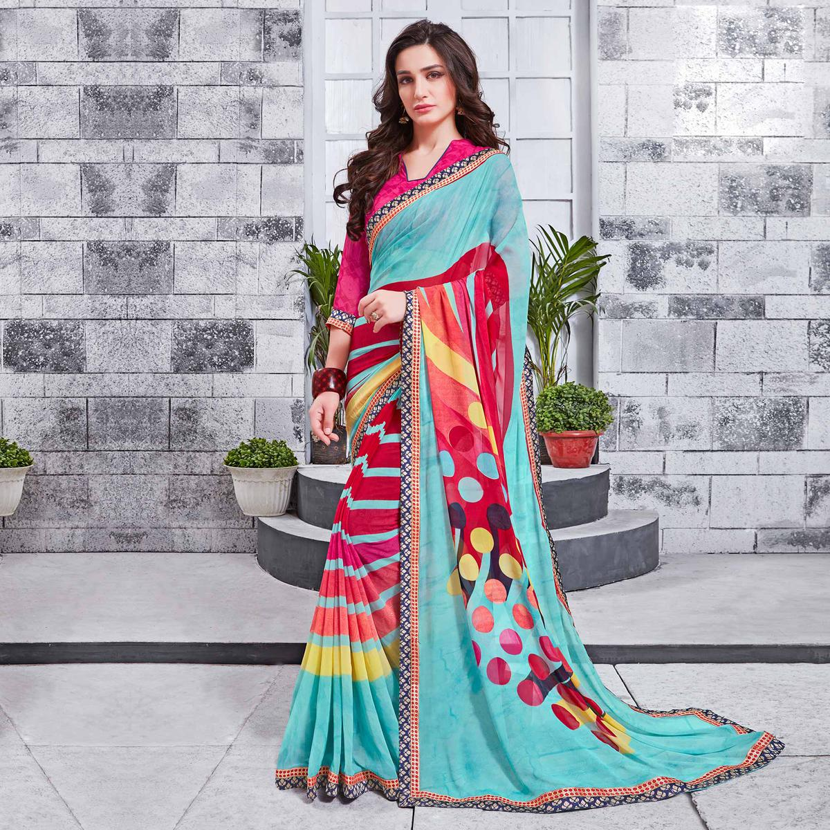 Light Blue Printed Georgette Saree