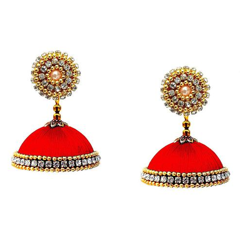 Captivating Red Colored Stone Work Resham Thread Jhumki Earring