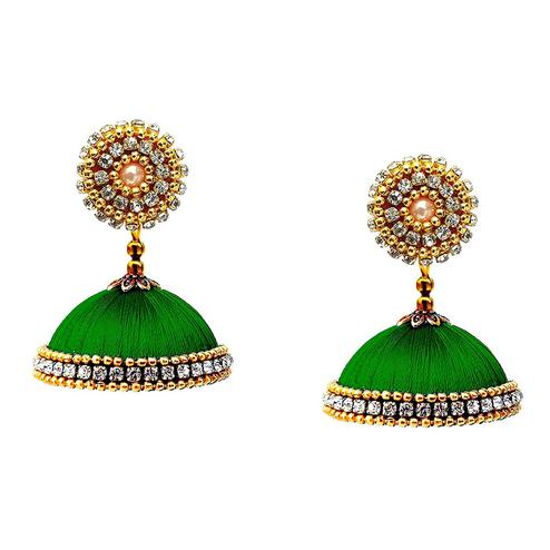 Flirty Green Colored Stone Work Resham Thread Jhumki Earring