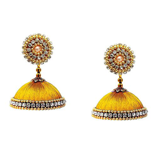 Glowing Mustard Yellow Colored Stone Work Resham Thread Jhumki Earring