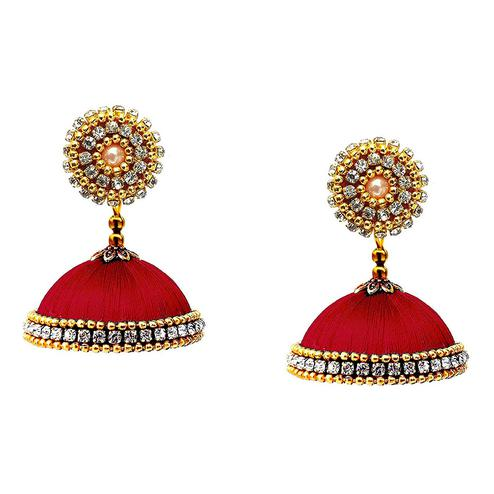 Hypnotic Maroon Colored Stone Work Resham Thread Jhumki Earring