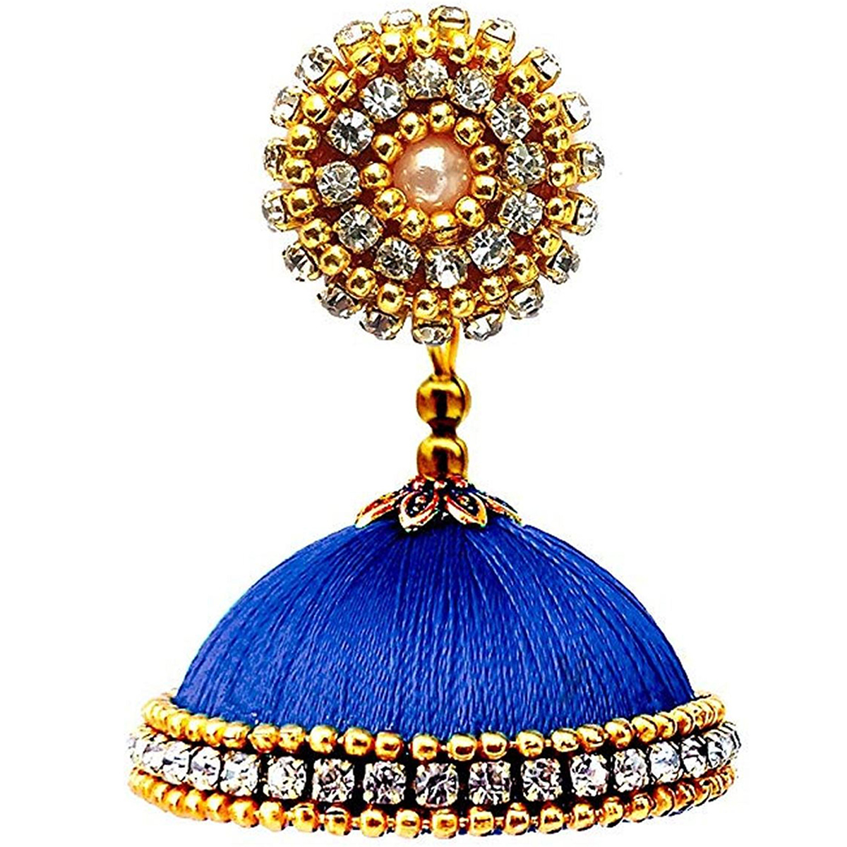Trendy Royal Blue Colored Stone Work Resham Thread Jhumki Earring