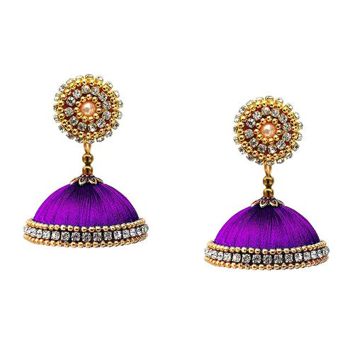 Elegant Purple Colored Stone Work Resham Thread Jhumki Earring