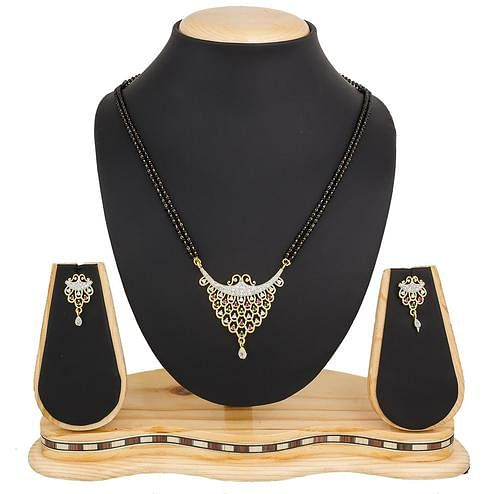 Desirable Golden Colored Diamond Work Mix Metal Mangalsutra