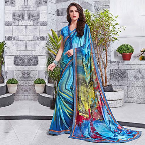 Desirable Blue Printed Georgette Saree