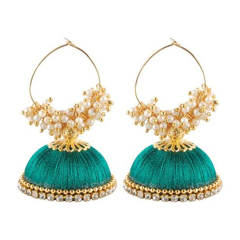 Adorable Turquoise Blue Colored Resham Thread Work Mix Metal Earring