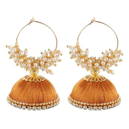 Desirable Beige Colored Resham Thread Work Mix Metal Earring