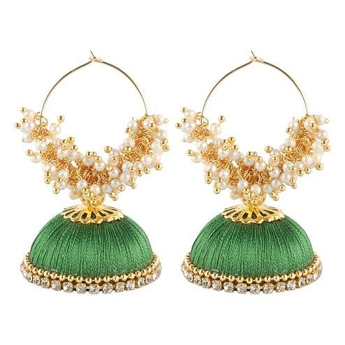 Attractive Light Green Colored Resham Thread Work Mix Metal Earring