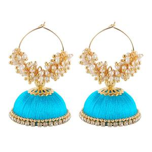 Sophisticated Sky Blue Colored Resham Thread Work Mix Metal Earring