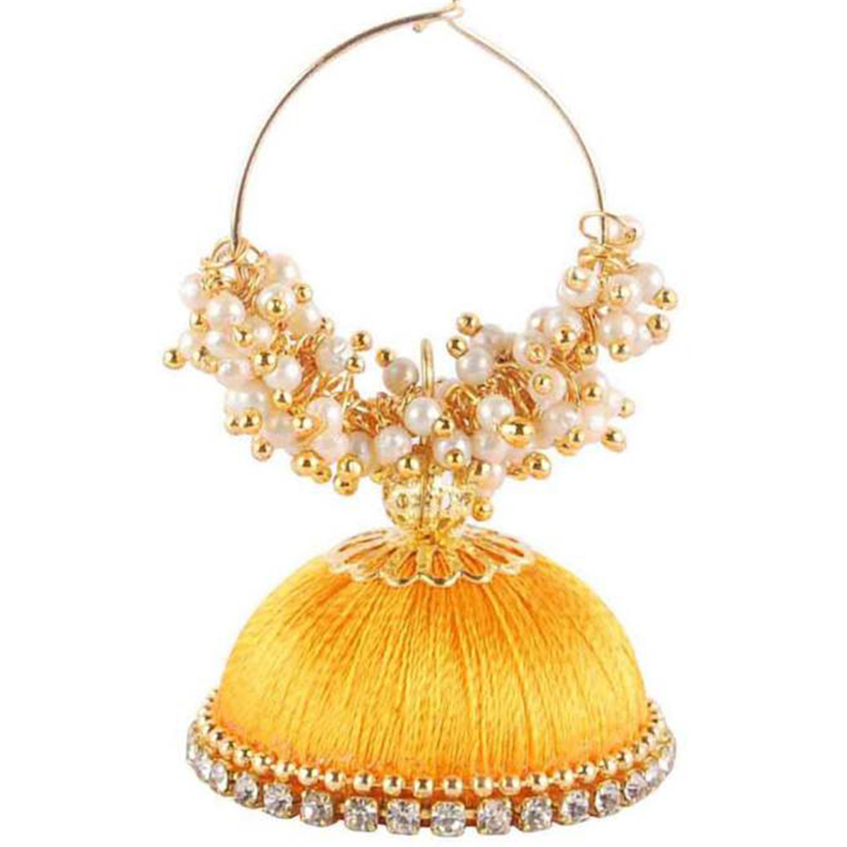 Gorgeous Yellow Colored Resham Thread Work Mix Metal Earring