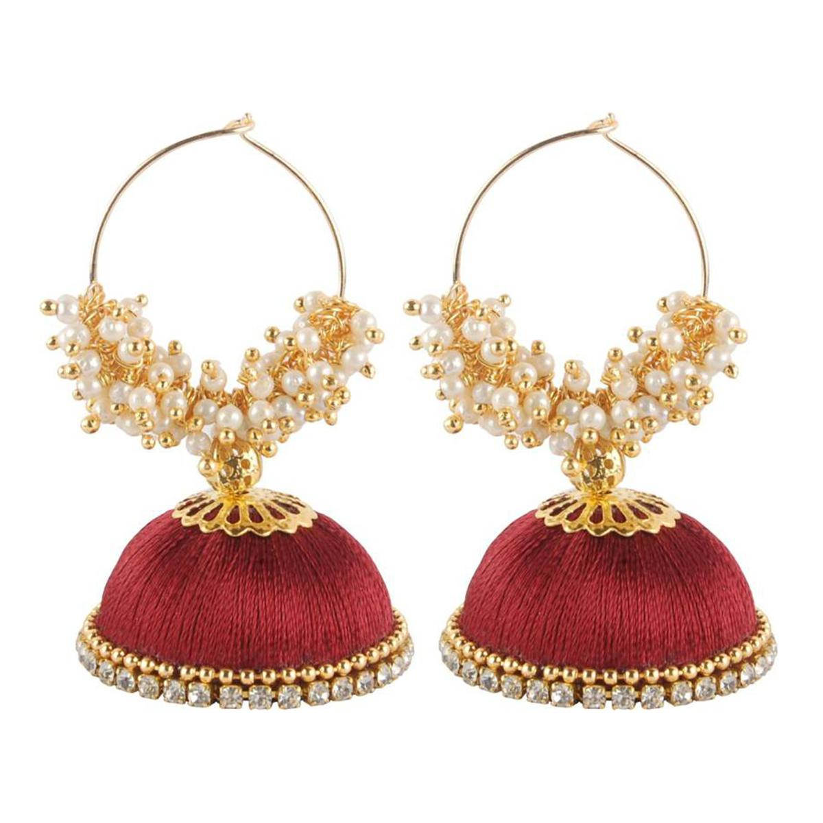 Demanding Maroon Colored Resham Thread Work Mix Metal Earring