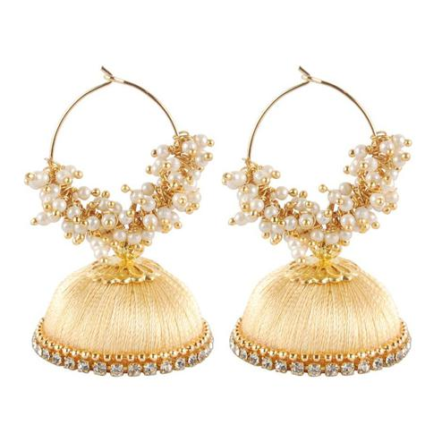 Classy Cream Colored Resham Thread Work Mix Metal Earring